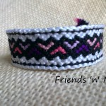 Friendship Bracelet - Purple and Pink Hearts Pattern
